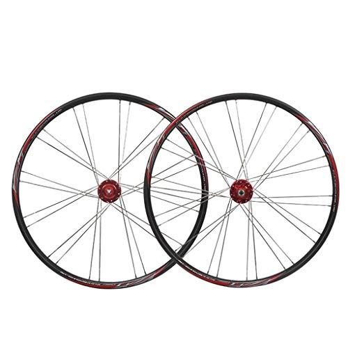 LSRRYD Ciclismo Ruedas MTB Juego Ruedas 26' Rueda Bicicleta Llanta Aleación Doble Pared Neumáticos 1.75-2.1' Freno Disco 7-11 Velocidad Palin Hub Liberación Rápida (Color : Black)