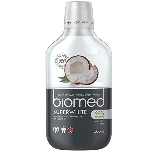 BIOMED Superwhite aufhellende Mundspülung gegen Mundgeruch - fluoridfreies und 99% natürliches Mundwasser in einer 500ml Packung