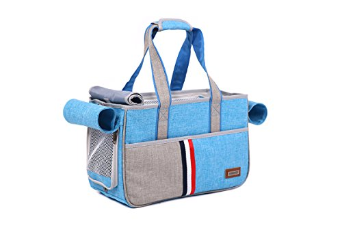 JPTACTICAL Pet Carrier Bag for Dogs or Cats | Pets Carriers with Locking Safety Zippers |Airline Approved Travel Pet Carriers | Perfect for Dogs, Cats, Small Pets (Blue)