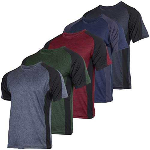 Men's Quick Dry Fit Dri-Fit Short Sleeve Active Wear Training Athletic Essentials Crew T-Shirt Fitness Gym Wicking Tee Workout Casual Sports Running Tennis Exercise Undershirt Top - 5 Pack,-Set 13,3XL