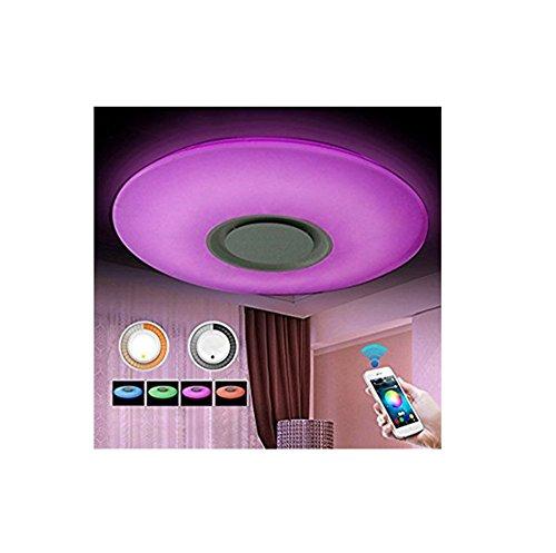 SZ&LAM LED-Musik-Deckenleuchten Mit Bluetooth-Lautsprecher Und Handy-APP, RGBW, Weiß Zu Warm Lichtschalter 3300K-6500K Farbtemperatur, 3600Lm, Flush Mount Light,50Cm