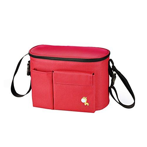 Silla de paseo Cochecito de bebé organizador alta capacidad bolsa correa de múltiples bolsillos con gran espacio de almacenamiento multi métodos de uso rojo rosso