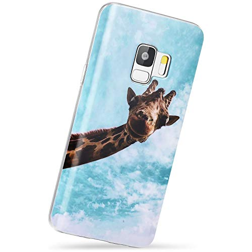 VIVIBIN Samsung Galaxy S9 Case,Hello Giraffe,Silicone Rubber TPU Case with Clear Bumper Scratch Resistant Slim Fit Protective Phone Case for Galaxy S9 [5.8']