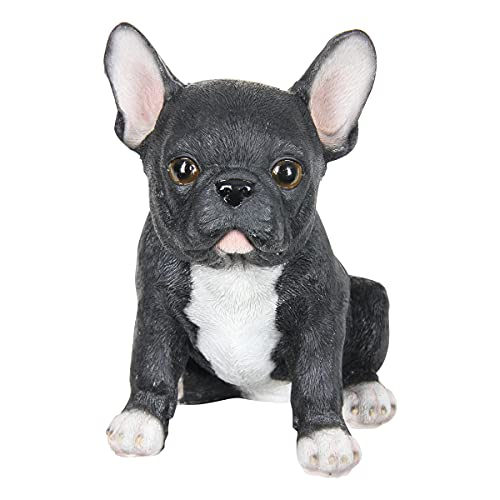 """Exhart Black French Bulldog Statue – Cute Realistic Puppy Dog Figurines -Hand-Painted Resin Dog Statue – Weather-Resistant Black Bulldog Garden Statue for Home or Garden Décor – 4.5"""" L X 6"""" W X 7"""" H"""