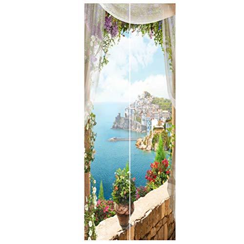 Imikey 2 stuks muurschilderingen 3D blik op de zee landschap deur behang sticker vinyl afneembare stickers voor de decoratie van het huis 38.5X200CM Verschillende kleuren.