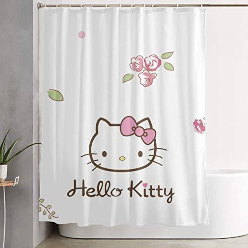 Duschvorhang mit Haken – Hello Kitty, wasserdichter Polyester-Stoff, Badezimmer-Dekoration, 152,4 x 183,9 cm