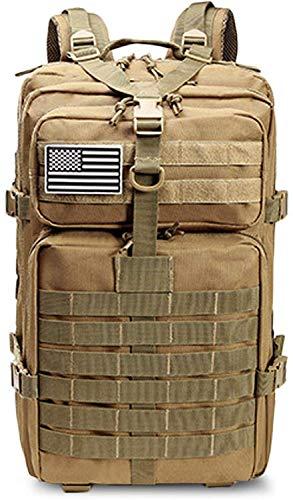 MQJ Mochila Grande 50L Capacidad Hombres Ejército Militar Táctico Táctico Impermeable Deporte Al Aire Libre Senderismo Camping Viajes 3D Bolsas de Mochila para Hombres Caqui