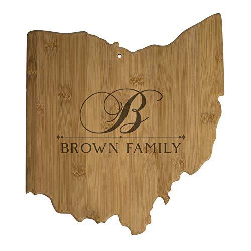 USA Ohio State Shaped Personalized Cutting Board | Custom Bamboo Serving & Cutting Board (Ohio)