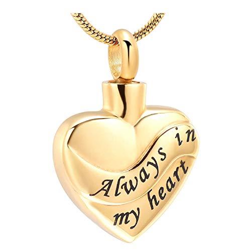 Wxcvz Colgante Conmemorativo Chapado En Oro Sin Desvanecimiento Siempre En Mi Corazón Urna De Cremación Cenizas Colgante Collar con Dijes con Kits De Relleno