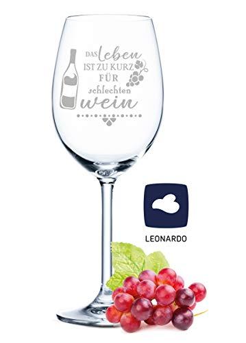 Leonardo - Copa de vino con grabado - La vida es demasiado corta para mal vino - Regalo para aficionados de verano y amantes del vino - Copas de vino - Regalo de cumpleaños para mujeres y hombres