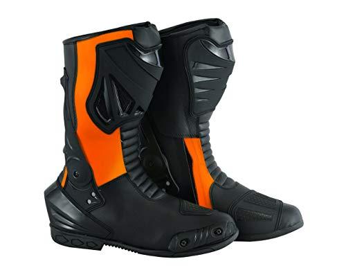 Jet Motorradschuhe Motorradstiefel Motorrad Sportstiefel Herren Protektoren Wasserdicht Leder (Schwarz Orange, 44 EU)