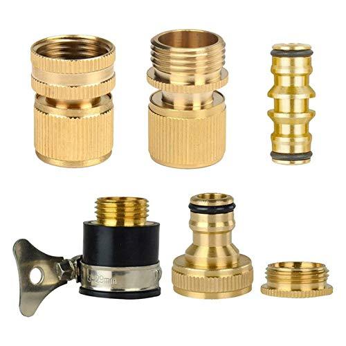 LHjin-Accesorio de latón Duradero, 1 Brass Set Manguera de jardín Tubo Extensible del Estiramiento Conexiones Conectores Adaptadores Tap Accesorios (Color : Yellow)