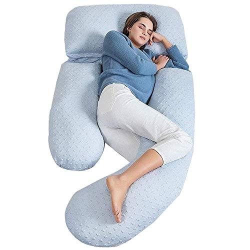 Chunjiao Almohada de embarazo, en forma de U Planta Cuerpo Almohada de maternidad Pure Algodón para mujeres embarazadas Comodidad para dormir, Apoyo Back Belly Hips Maternity Uso 63in, Blanco Almohada