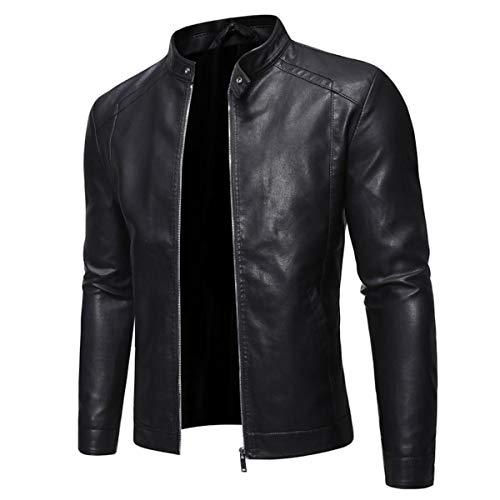 VEROP Man Leather Jacket,Men's Light Leather Bomber Jacket,Super Biker Fashion Leather Jacket with Padded Zip