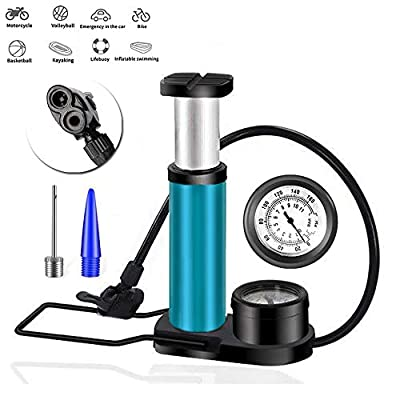 Bike Pump, Portable Mini Bike Air Pump with Pressure Gauge, Valve Portable Multi-Functional Universal Tube Bicycle Floor Pump with Free Ball Needle and Inflation Cone, Best Quality&Performance (Bule)