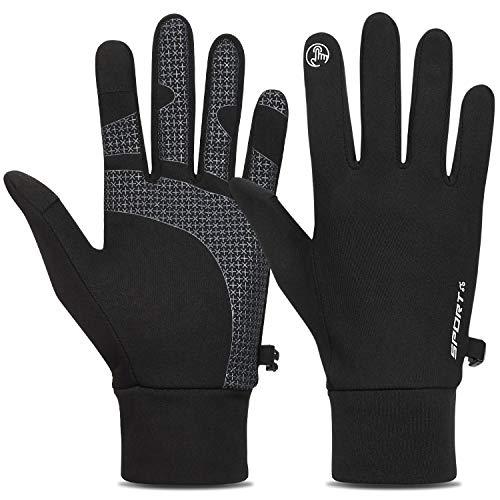 Kungber Laufhandschuhe Winddicht und Wasserdicht Handschuhe Ajustable Gr/ö/ße f/ür Damen Herren Sport Thermo Handschuhe Winterhandschuhe Anti-Rutsch Fahrradhandschuhe