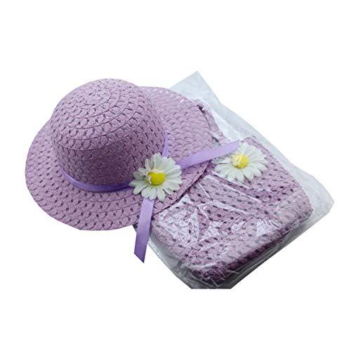 mysticall Sombrero de Paja Sun Flower Flower para niña con Asas de Playa Bolsa de Paja, Summer Girl Medio Sombrero de Paja con Brida Beach Sun Cap Monedero de Paja con decoración de Flores