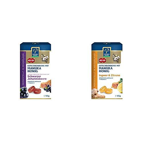Manuka Health Honig Lutschbonbons Schwarze Johannisbeere & Ingwer-Zitrone, je 100g, 2er Pack (2 x 100 g)
