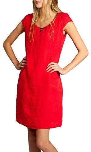 Caspar SKL020 knielanges Damen Sommer Leinenkleid mit eleganter Metallspange bis Größe 50, Farbe:rot, Größe:3XL - DE46 UK18 IT50 ES48 US16
