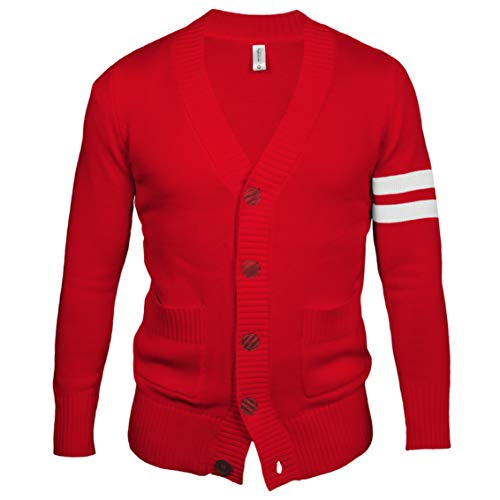 Hip Hop 50's Shop - Mens 1950s Letterman Cardigan Sweater (Medium, Red)