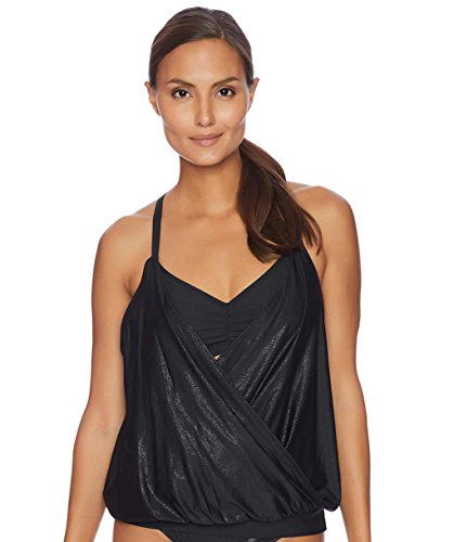 next - Feeling Fine Surplice Double Up Tankini Top Black