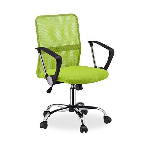 Relaxdays Bürostuhl, 360° drehbar, höhenverstellbar, ergonomisch, 120 kg belastbar, Netzstoff, 101x62x62 cm, neon-grün