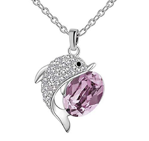 collar con colgante de delfín con circón transparente y cristalino de piedra fucsia de plata mujer de la joyería del regalo del día de la Madre Ideas