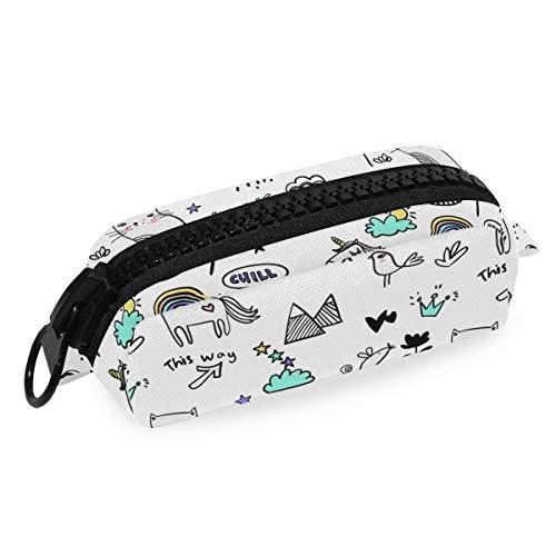 Federmäppchen aus Segeltuch, handgezeichnet, schwarze Umrisse, Katzen-Einhorn-Tasche, mit großem Kunststoff-Reißverschluss, Büro-Büro-Büro-Büro-Büro-Büro-Büro-Büro-Büro-Büro-Büro-B