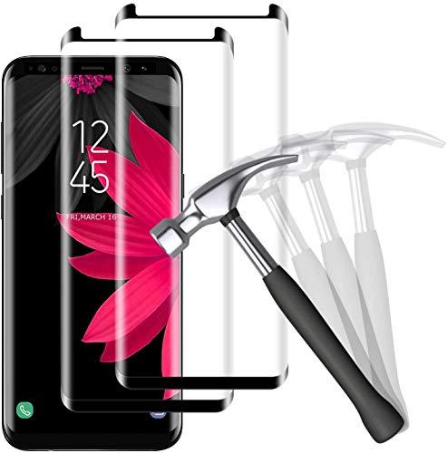 NUOCHENG Panzerglas Schutzfolie für Samsung Galaxy S8 [2 Stück] 3D Vollständige Abdeckung, 9H Härte, Anti-Kratzen, Blasenfrei, Panzerglasfolie Displayschutzfolie für Samsung Galaxy S8