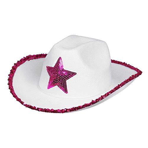Boland 54376 - Hut Rodeo Star, pink-weiß, für Erwachsene, Cowboyhut mit Pailletten, Cowgirl, Karneval, Fasching, Fastnacht, Halloween, Mottoparty