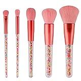 Set de Pinceles de Maquillaje Brochas de Maquillaje Caramelo Brocha Rubor Sombra Polvo Suelto Alta luz Rosa 5 Piezas