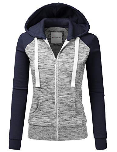 Doublju Womens Casual Raglan Full Zip Fleece Hoodie Jacket with Pocket MELANGENAVY 3X Plus Size