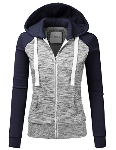 Doublju Womens Casual Raglan Full Zip Fleece Hoodie Jacket with Pocket MELANGENAVY M