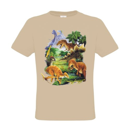 Preisvergleich Produktbild Ethno Designs Kinder T-Shirt Dinosaurus regular fit,  Größe 122 / 128,  sand