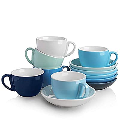 SWEEJAR Ceramic Cappuccino Cups and Saucers Set, 7 Ounce Espresso Cups for Coffee Drink, Latte, Café Mocha and Tea - Set of 6(Similarcolour)