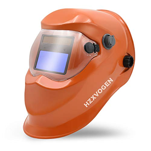 HZXVOGEN Welding Helmet True Color Solar Powered Auto Darkening Hood with Adjustable Wide Shade Range 4/9-13 for Mig Tig Arc Welder Mask Shield (Orange)