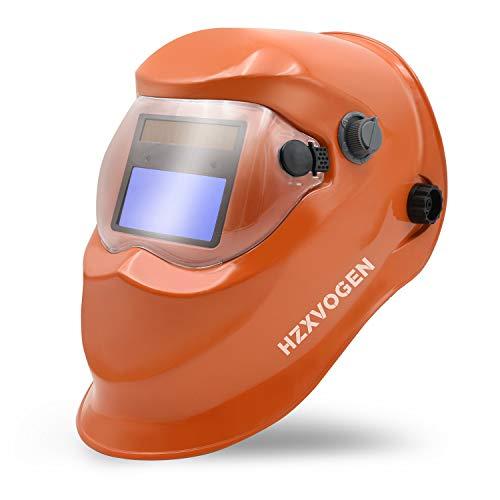 HZXVOGEN Welding Helmet Solar Powered Auto Darkening Hood with Adjustable Wide Shade Range 4/9-13 for Mig Tig Arc Welder Mask Shield (Orange)