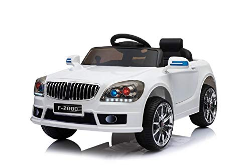 Toyas Kinder Elektro Auto Fahrzeug Elektroauto Kinderelektroauto Kinderauto mit Fernbedienung Weiß Weiss F-2000