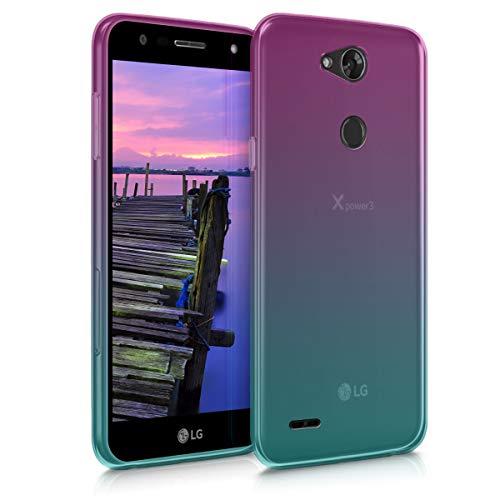 kwmobile Hülle kompatibel mit LG X Power 3 - Handyhülle - Handy Case Zwei Farben Pink Blau Transparent