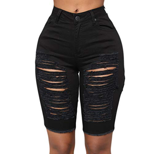 Lowest Prices! Toimothcn Jeans Shorts Women Elastic Destroyed Hole Leggings Short Pants Denim Shorts...
