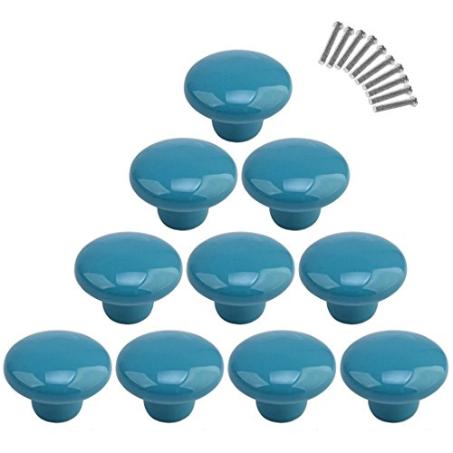 10Pcs Dresser Knobs, YIFAN Cute Drawer Pulls for Kids' Room Ceramic Door Cabinet Handles - Blue