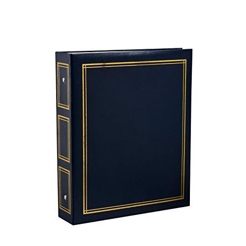 ARPAN - Álbum de Fotos Deluxe con Anillas, Hojas Autoadhesivas (40 hojas/80 Caras), tamaño Grande, Azul, 28,5x23x5,5cm
