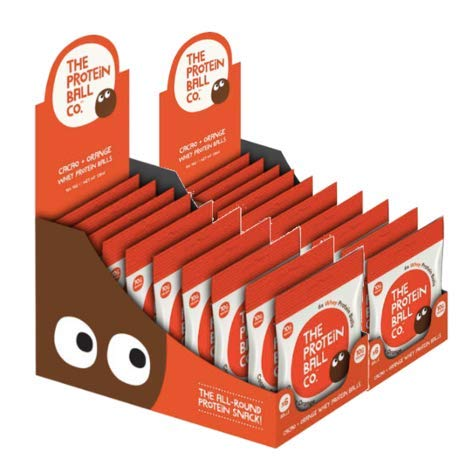 The Protein Ball Co in Cacoa & Orange, Protein Balls Delicious 100% Natural High Protein Snacks, Gluten Free, No Artificial Preservatives, Perfect for On The Go Occasions 45g (Pack of 20)