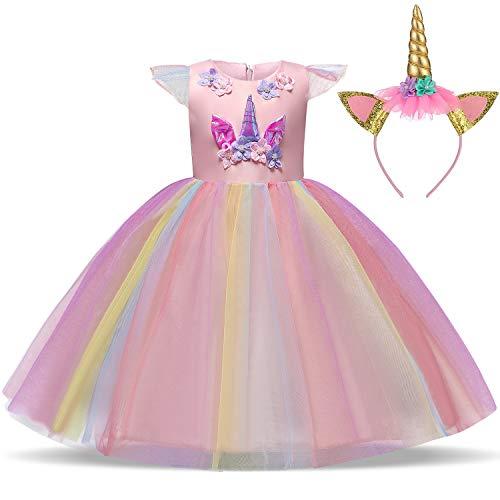 TTYAOVO Chicas Unicornio Fancy Vestido Princesa Flor Desfile de Niños Vestidos sin...