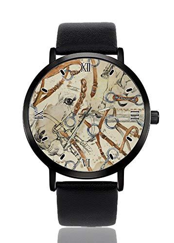 Armbanduhr mit Pferde-Sattel, für Damen und Herren, mit schwarzem Armband