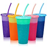Reusable Plastic Cups with Lids & Straws - 5 Pack Color Changing Cup | 24oz Bulk Ice Cold Drinking Straw Tumbler for Kids & Adults