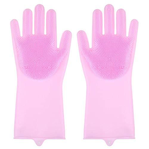 1 PaarGeschirrspülhandschuhe Magic Silicone Rubber Geschirrspülhandschuh für HaushaltswäscherKitchen Clean Tool Scrub, Pink