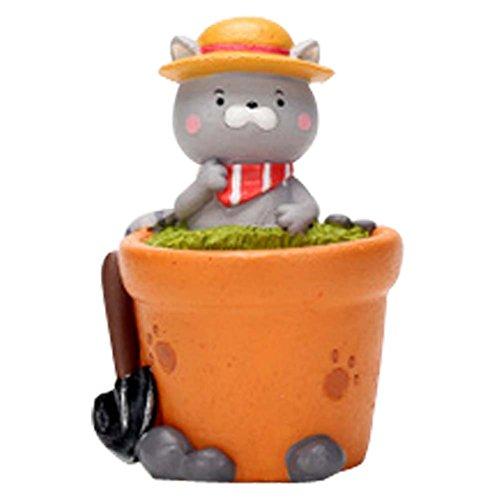 Cartoon Mini Agriculteur Cat résine pot de fleur décorations de table