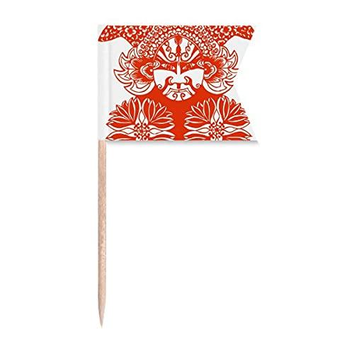 Roter Gesichtskopf Peking Opera Papierschnitt Zahnstocher Flaggen Markierung für Party Kuchen Lebensmittel Käseplatte