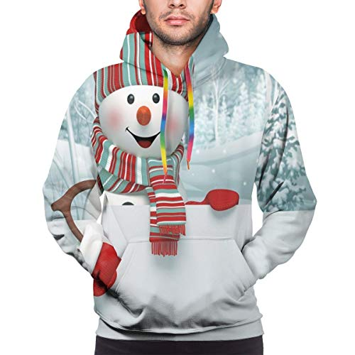 Men's Hoodies 3D Print Pullover Sweatershirt,Smiling 3D Style Mascot with Hat and Scarf Snowy Mountains Trees Seasonal Happy,L